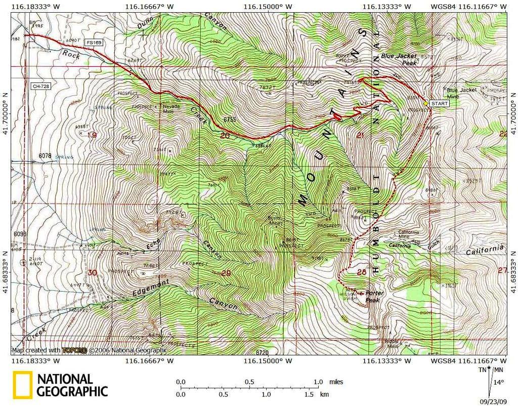 Porter Peak access route