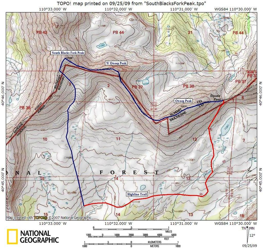 Highline Trail Route