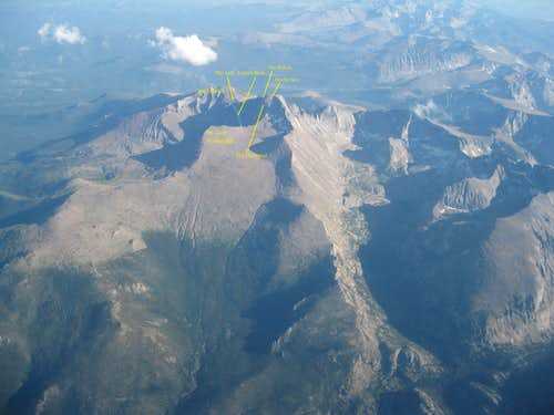 Longs Peak from the air, with prominent features labeled