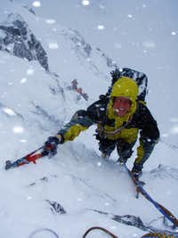Mike lapping up the wild climbing and full conditions on