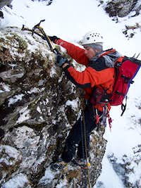 Paavo mixes it up on the West Buttress of Ben a Dothaigh (Spelling?)