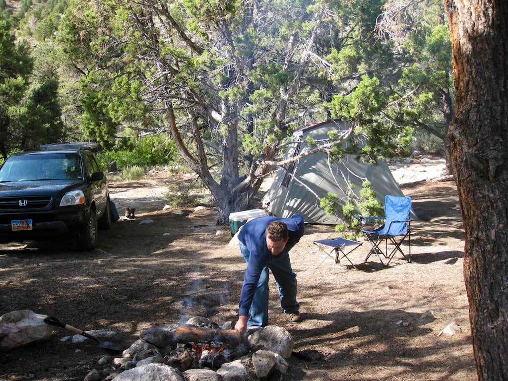 Greg tending the fire
