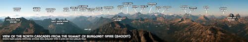 Labelled Panoramic view of the North Cascades from the summit of Burgundy Spire