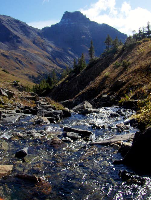 Potosi Peak from Sneffels Creek crossing