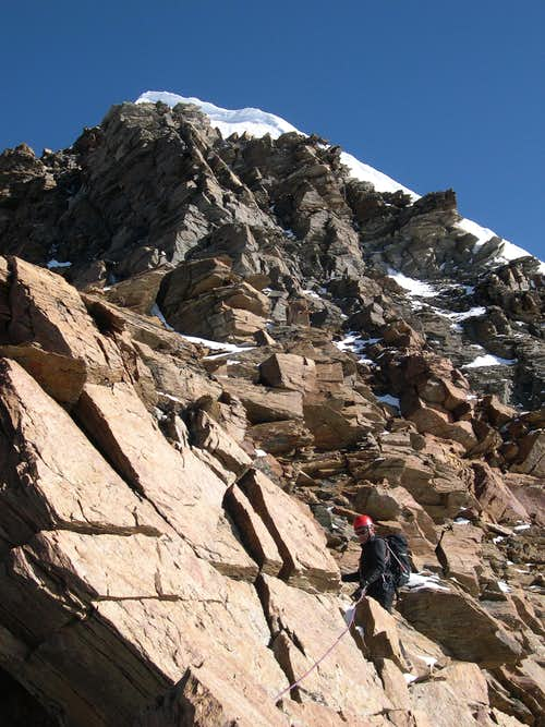 Climbing on cresta Sella