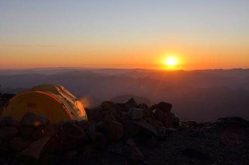 Sunrise at Camp Schurman, on the Emmons-Winthrop Glacier route up Mt. Rainier