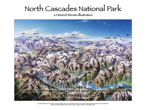 Labelled illustration of North Cascade National Park