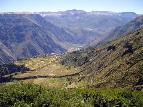 A View Down to Locrahuanca and Up Canyon