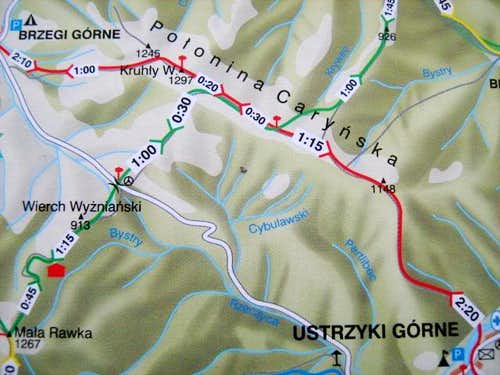 Map of Mount Polonina Carynska