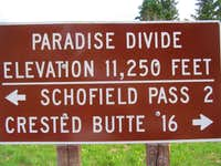 Sign at Paradise Divide
