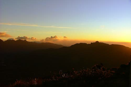 Sunset from Volcan Chiles. Ecuador.
