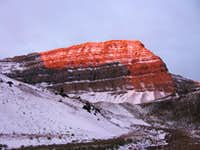 Morning sun hits the summit