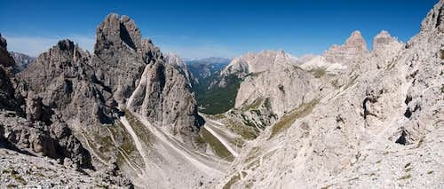 Looking out from Forcella della Torre