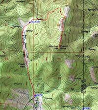 Topo map of route starting...