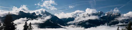 Looking from Ratsberger Wiesen towards the Prags / Braies Dolomites