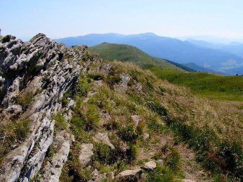 The rocky ridge of Mount Polonina Carynska (1297 m)