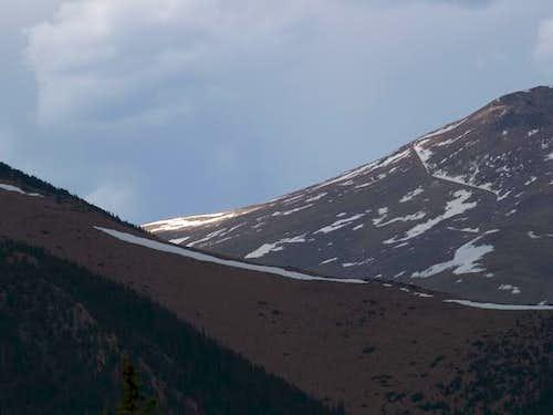 Pikes Peak saddle from Summit...