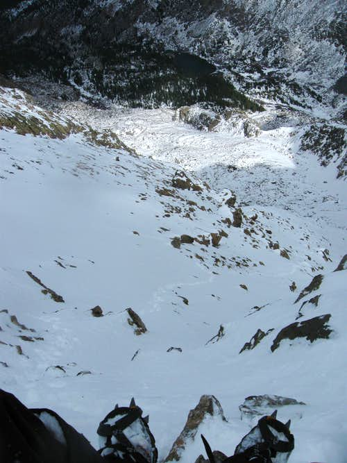 Post-holing on Angelica Couloir