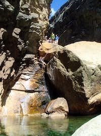 Rapping LeConte Boulder