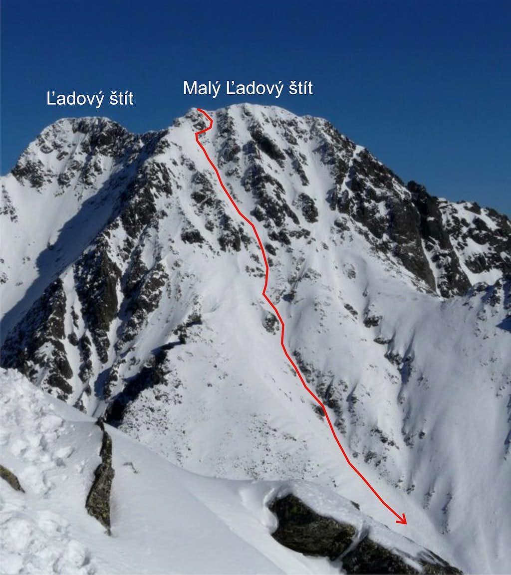 Maly Ladovy stit - ski route