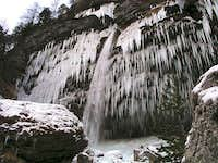 Pericnik waterfall in winter.