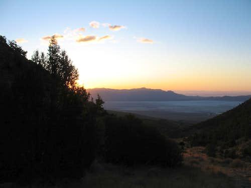 Dawn breaking over the Silver Island range
