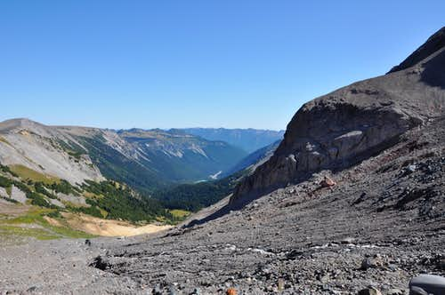 Looking back down Glacier Basin from the start of Inter Glacier