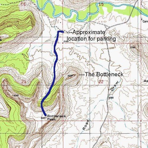 Bottleneck Mesa-- Route Map