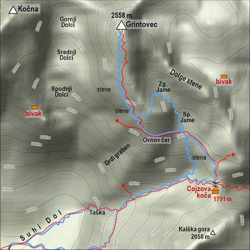 Grintovec ski tour map