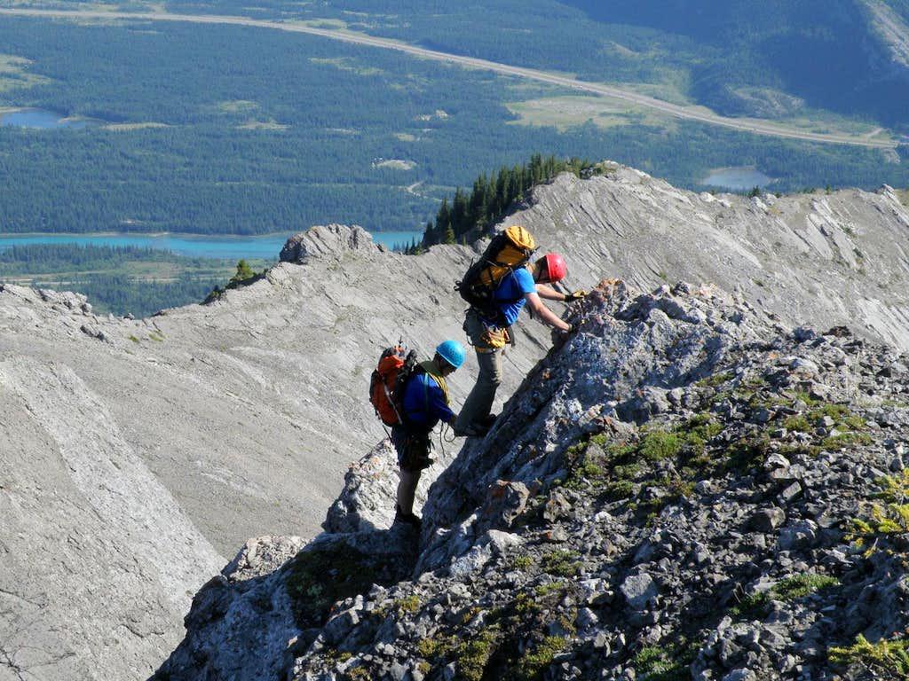 Downclimbing on SE ridge Un-named, Goat Traverse