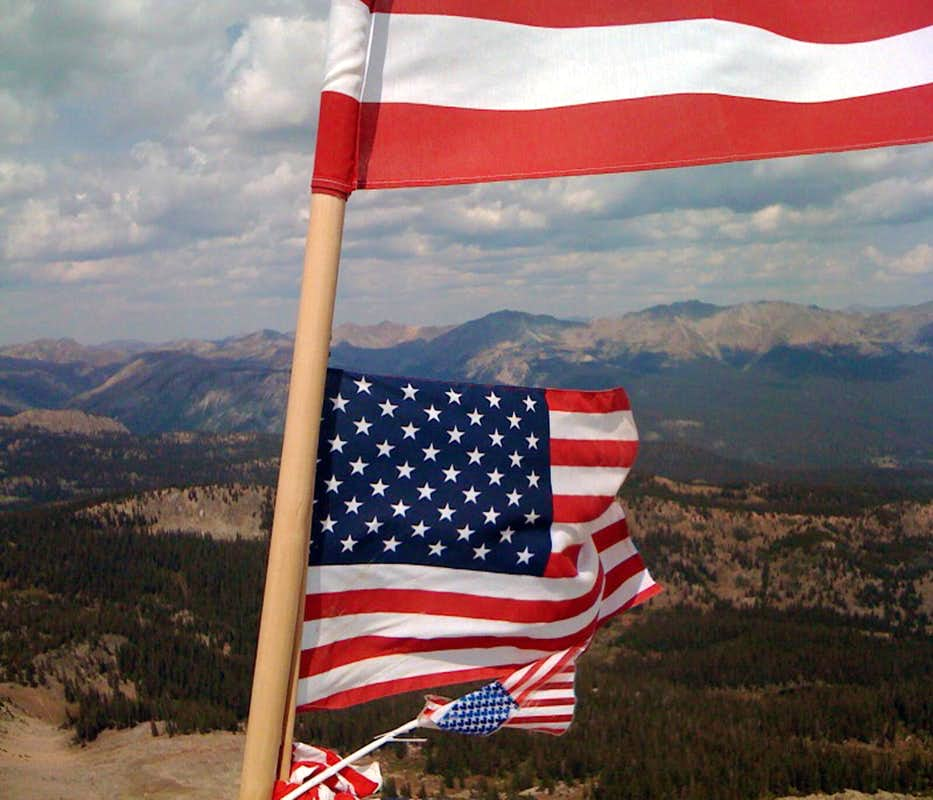 Flags On The Summit Of American Flag Mountain Photos