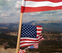 Flags on the summit of American Flag Mountain