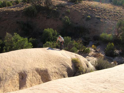 Climbing up to the ledges