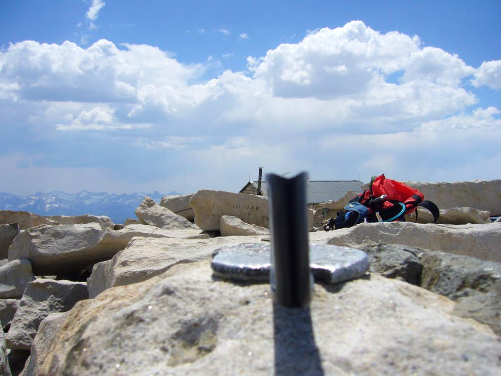 Construction level on the Whitney's summit marker