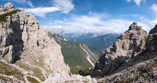 Looking out of Forcella Urtisel