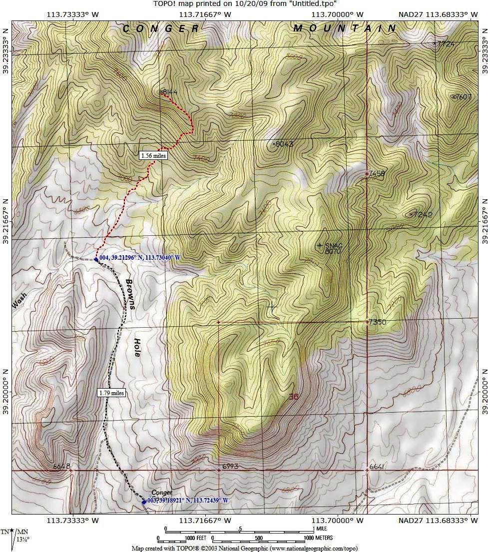 Conger Mtn route map