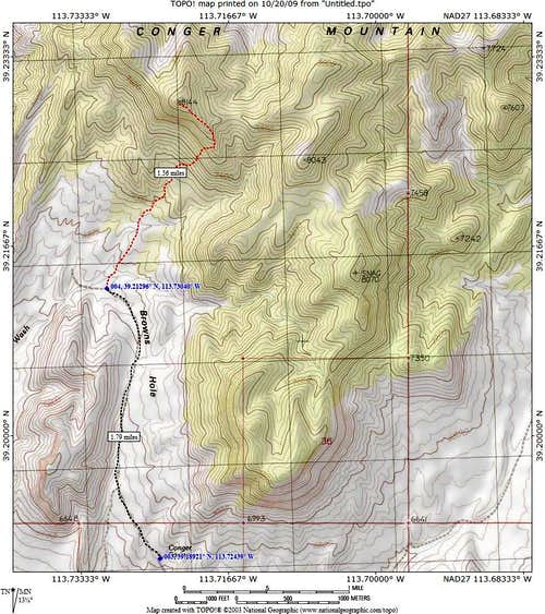 Conger Mtn route map