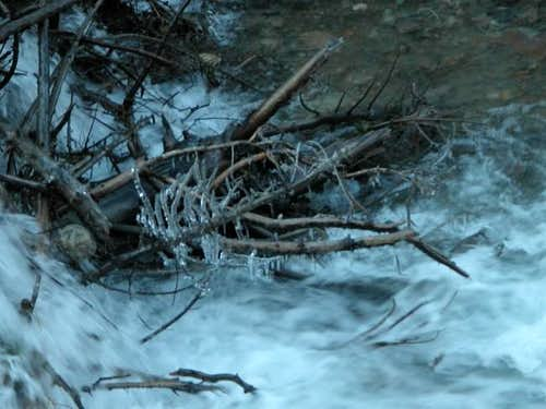 Swirling water and icicles...