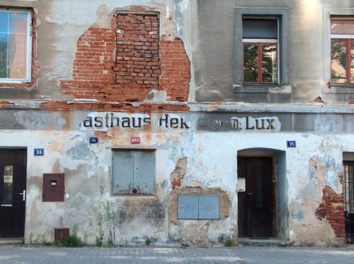 Remains of german inscriptions on a decrepited wall in the czech city of Jesenik, in the Sudetes