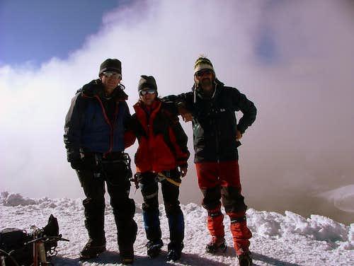 Boriss (ECU), Andreea (ROM) and Mehmet (TUR) on summit of Cotopaxi