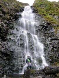 Me dwarfed by the Grey Mares Tail