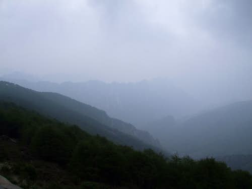 View of a valley in dense mist