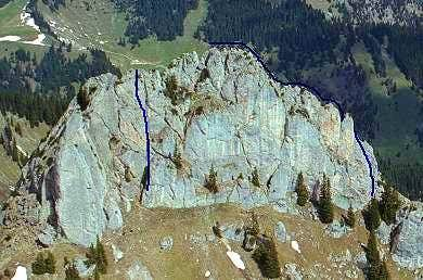 Climbing routes in the...