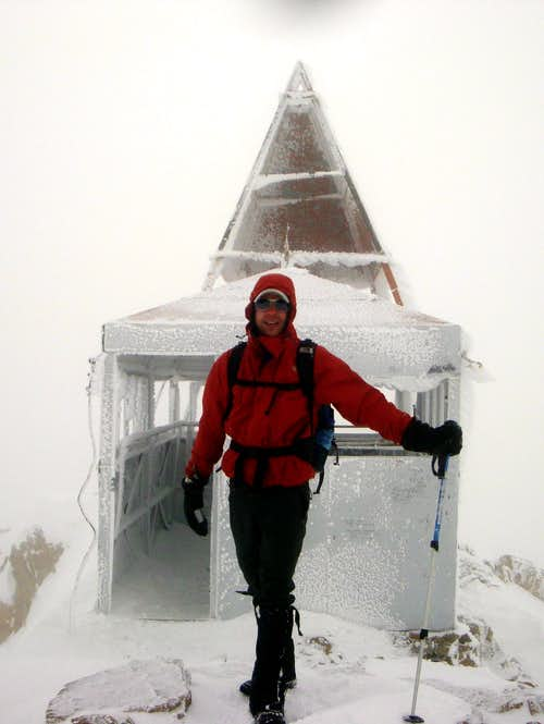 Rime Covered Triangulation Station on Mt. Timpanogos, Utah