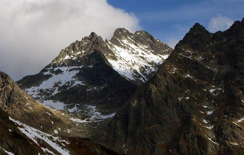 Ťažký štít and Vysoka seen from Hincova valley