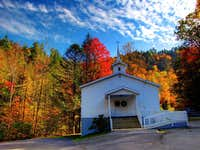 Little white church and fall colors in the Appalachians of NC