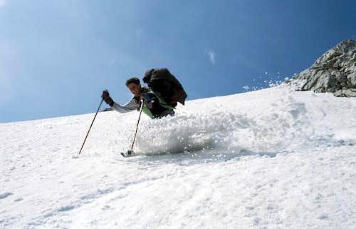 Skiing down the steep...