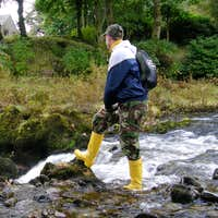 Me in my yellow Hunter wellingtons at Tweedsmuir Rapids