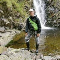 Me in my Black Hunters at the Grey Mares Tail