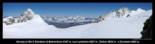 From Balmenhorn to Lyskamm and Zumstein and Dufour
